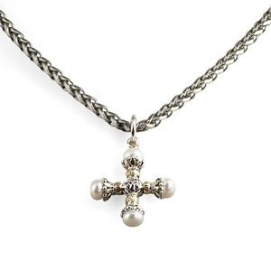 Konstantino Pearl Maltese Cross Pendant • EUC